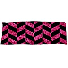 Chevron1 Black Marble & Pink Marble Body Pillow Case (dakimakura) by trendistuff