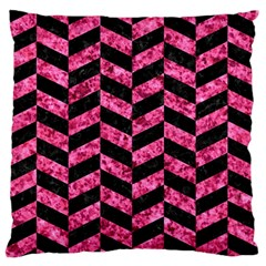 Chevron1 Black Marble & Pink Marble Standard Flano Cushion Case (one Side) by trendistuff