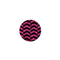 Chevron2 Black Marble & Pink Marble 1  Mini Button by trendistuff