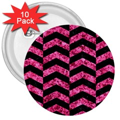 Chevron2 Black Marble & Pink Marble 3  Button (10 Pack) by trendistuff