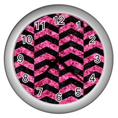 Chevron2 Black Marble & Pink Marble Wall Clock (silver) by trendistuff