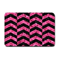 Chevron2 Black Marble & Pink Marble Small Doormat