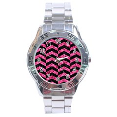 Chevron2 Black Marble & Pink Marble Stainless Steel Analogue Watch by trendistuff