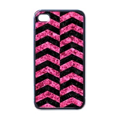 Chevron2 Black Marble & Pink Marble Apple Iphone 4 Case (black) by trendistuff