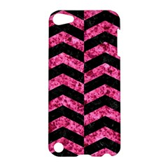Chevron2 Black Marble & Pink Marble Apple Ipod Touch 5 Hardshell Case by trendistuff
