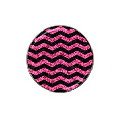 Chevron3 Black Marble & Pink Marble Hat Clip Ball Marker (4 Pack) by trendistuff