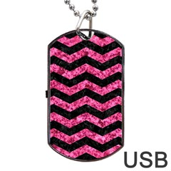 Chevron3 Black Marble & Pink Marble Dog Tag Usb Flash (one Side) by trendistuff