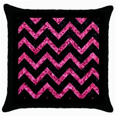 Chevron9 Black Marble & Pink Marble Throw Pillow Case (black) by trendistuff