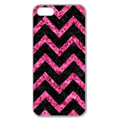 Chevron9 Black Marble & Pink Marble Apple Seamless Iphone 5 Case (clear) by trendistuff
