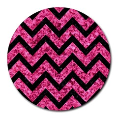 Chevron9 Black Marble & Pink Marble (r) Round Mousepad by trendistuff