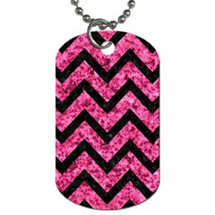 Chevron9 Black Marble & Pink Marble (r) Dog Tag (two Sides)