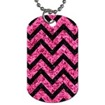 CHEVRON9 BLACK MARBLE & PINK MARBLE (R) Dog Tag (Two Sides) Front