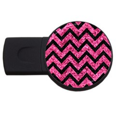 Chevron9 Black Marble & Pink Marble (r) Usb Flash Drive Round (2 Gb) by trendistuff