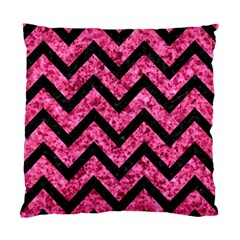 Chevron9 Black Marble & Pink Marble (r) Standard Cushion Case (one Side) by trendistuff