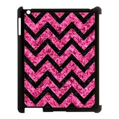Chevron9 Black Marble & Pink Marble (r) Apple Ipad 3/4 Case (black) by trendistuff