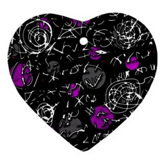 Purple Mind Heart Ornament (2 Sides) by Valentinaart