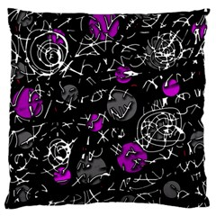 Purple Mind Large Flano Cushion Case (two Sides) by Valentinaart