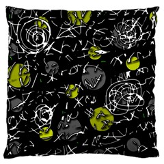 Yellow Mind Large Cushion Case (one Side) by Valentinaart