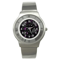 Abstract Mind   Magenta Stainless Steel Watch by Valentinaart