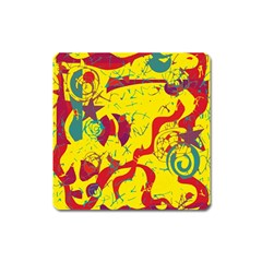 Yellow Confusion Square Magnet by Valentinaart