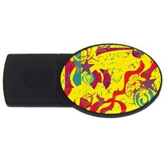 Yellow Confusion Usb Flash Drive Oval (2 Gb)  by Valentinaart