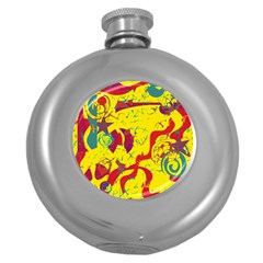 Yellow Confusion Round Hip Flask (5 Oz)