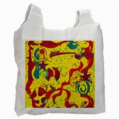 Yellow Confusion Recycle Bag (two Side)  by Valentinaart