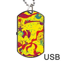 Yellow Confusion Dog Tag Usb Flash (one Side) by Valentinaart