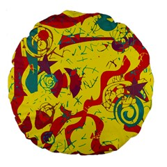 Yellow Confusion Large 18  Premium Flano Round Cushions by Valentinaart