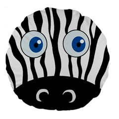 Blue Eye Zebra Large 18  Premium Flano Round Cushions by Valentinaart