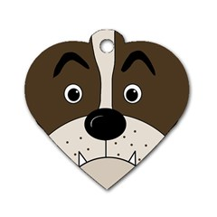 Bulldog Face Dog Tag Heart (one Side) by Valentinaart