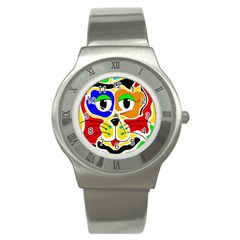 Colorful Cat Stainless Steel Watch by Valentinaart