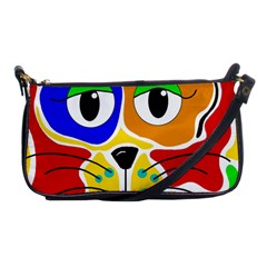Colorful Cat Shoulder Clutch Bags by Valentinaart