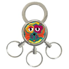 Colorful Cat 2  3 Ring Key Chains by Valentinaart