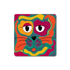 Colorful Cat 2  Square Magnet by Valentinaart