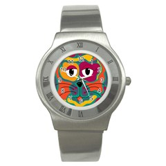 Colorful Cat 2  Stainless Steel Watch by Valentinaart