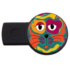 Colorful Cat 2  Usb Flash Drive Round (4 Gb)  by Valentinaart