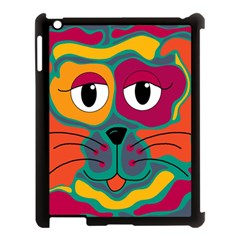 Colorful Cat 2  Apple Ipad 3/4 Case (black) by Valentinaart