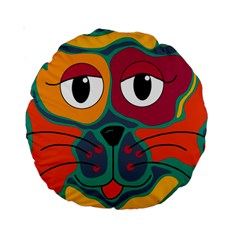 Colorful Cat 2  Standard 15  Premium Round Cushions by Valentinaart