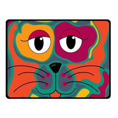 Colorful Cat 2  Double Sided Fleece Blanket (small)