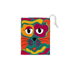 Colorful Cat 2  Drawstring Pouches (xs)  by Valentinaart