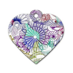 Zentangle Mix 1116a Dog Tag Heart (one Side) by MoreColorsinLife