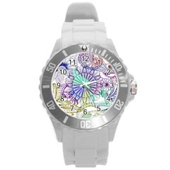 Zentangle Mix 1116a Round Plastic Sport Watch (l) by MoreColorsinLife