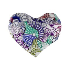 Zentangle Mix 1116a Standard 16  Premium Heart Shape Cushions