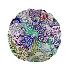 Zentangle Mix 1116a Standard 15  Premium Flano Round Cushions by MoreColorsinLife