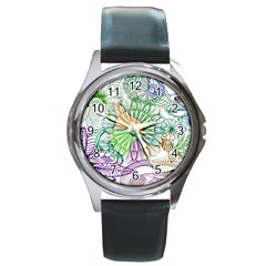 Zentangle Mix 1116c Round Metal Watch by MoreColorsinLife