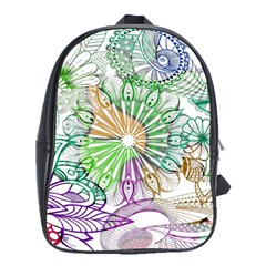 Zentangle Mix 1116c School Bags(large)  by MoreColorsinLife