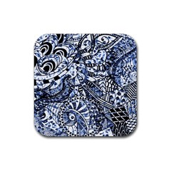 Zentangle Mix 1216b Rubber Coaster (square)  by MoreColorsinLife