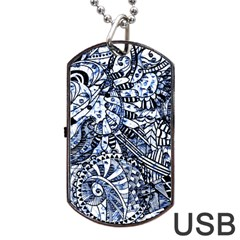 Zentangle Mix 1216b Dog Tag Usb Flash (one Side) by MoreColorsinLife