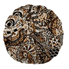 Zentangle Mix 1216c Large 18  Premium Round Cushions by MoreColorsinLife